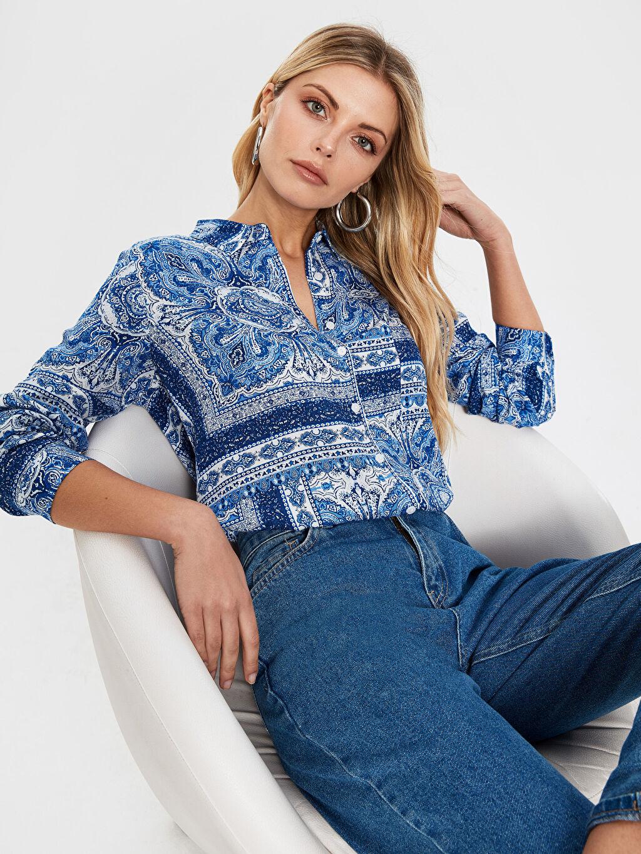 %100 Viskoz İnce Gömlek Uzun Pat Standart Gömlek Yaka Baskılı Uzun Kol Desenli Viskon Gömlek