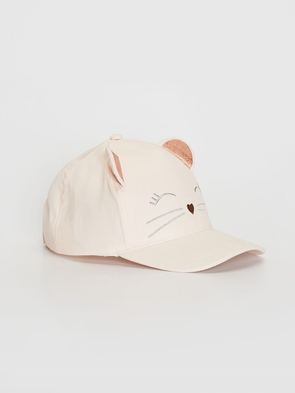 %100 Pamuk Şapka Kep Astarsız Kız Çocuk Nakış Detaylı Ter Bantlı Şapka