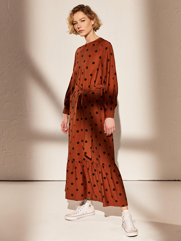 %8 Polyester %92 Viskoz Orta Kalınlık Uzun Kol Baskılı Astarsız Maksi Elbise Ofis/Klasik Uzun Desenli Uzun Kollu Elbise