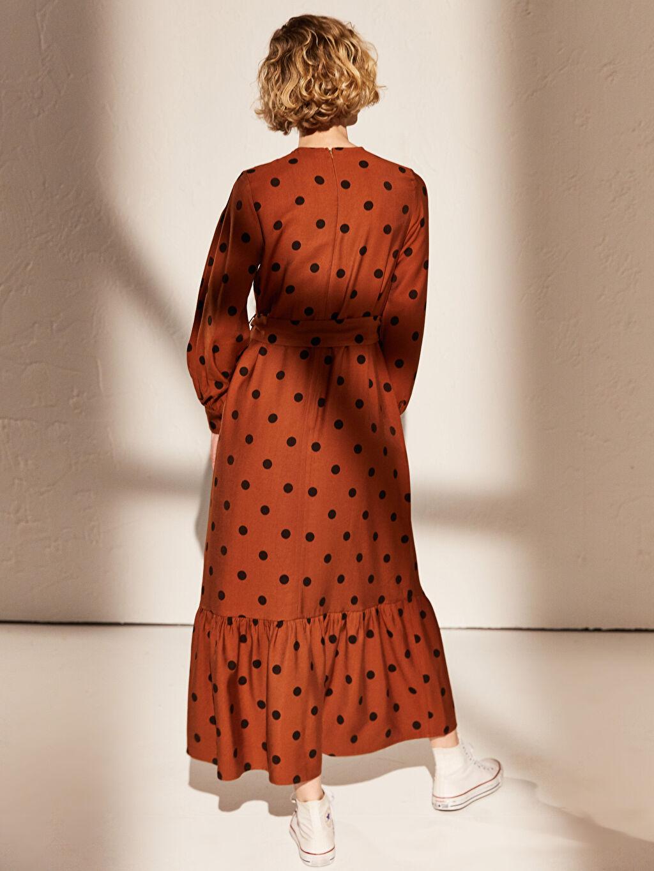 %8 Polyester %92 Viskoz Uzun Desenli Uzun Kollu Elbise