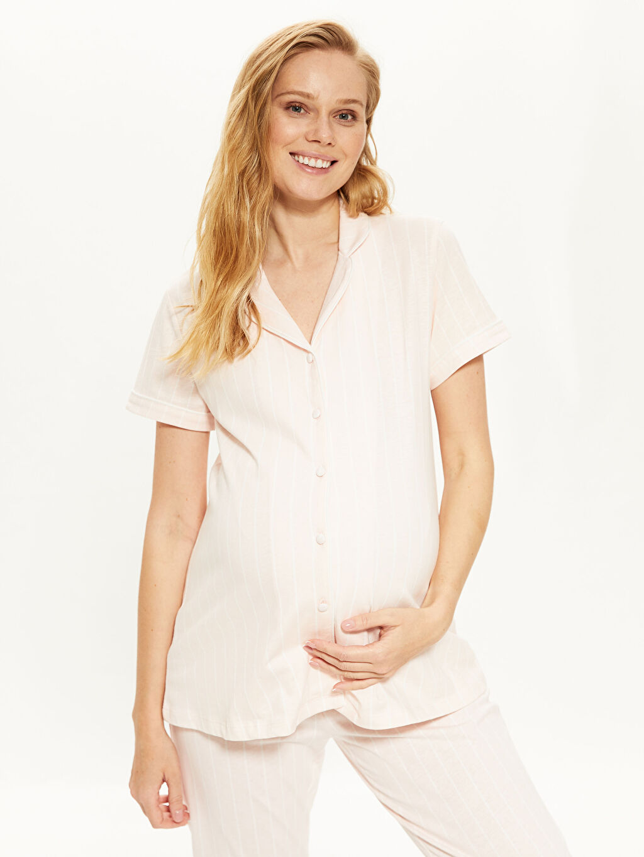 %100 Pamuk %100 Pamuk Aksesuarsız Standart Gömlek Yaka İnce Pijama Takım Uzun Kısa Kol Çizgili Penye Çizgili Pamuklu Hamile Pijama Takımı