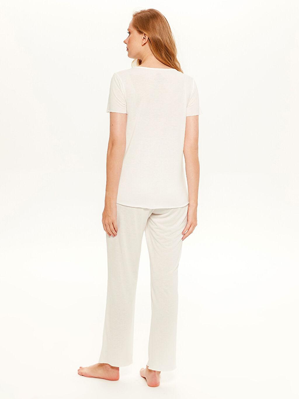 %65 Polyester %35 Viskon Yaka Detaylı Hamile Pijama Takımı