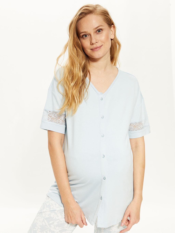%96 Viskon %4 Elastan Standart Gömlek Yaka İnce Pijama Takım Uzun Kısa Kol Düz Penye Dantel Detaylı Viskon Hamile  Pijama Takımı