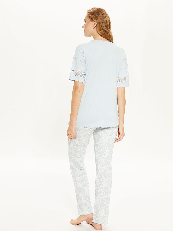 %96 Viskon %4 Elastan Dantel Detaylı Viskon Hamile  Pijama Takımı