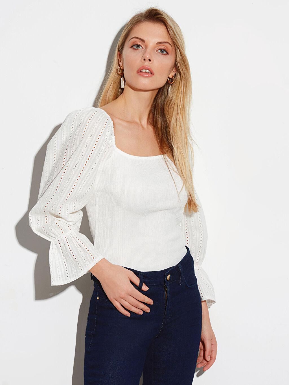 %99 Polyester %1 Elastan İnce Kare Yaka Dar Tişört 3/4 Boy Düz Standart Bluzan Bluz