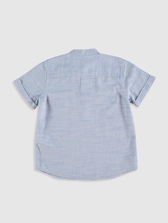 %100 Pamuk %100 Pamuk Aksesuarsız Gömlek Standart Kısa Kol Hakim Yaka İnce Çizgili Erkek Çocuk Pamuklu Gömlek