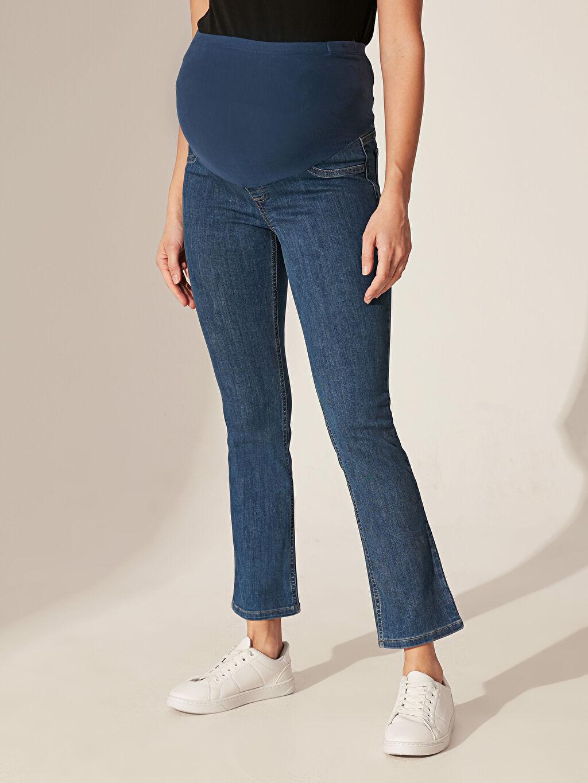 %90 Pamuk %8 Polyester %2 Elastan Günlük Jean Orta Kalınlık Bilek Boy Düz Düz Paça Hamile Jean Pantolon
