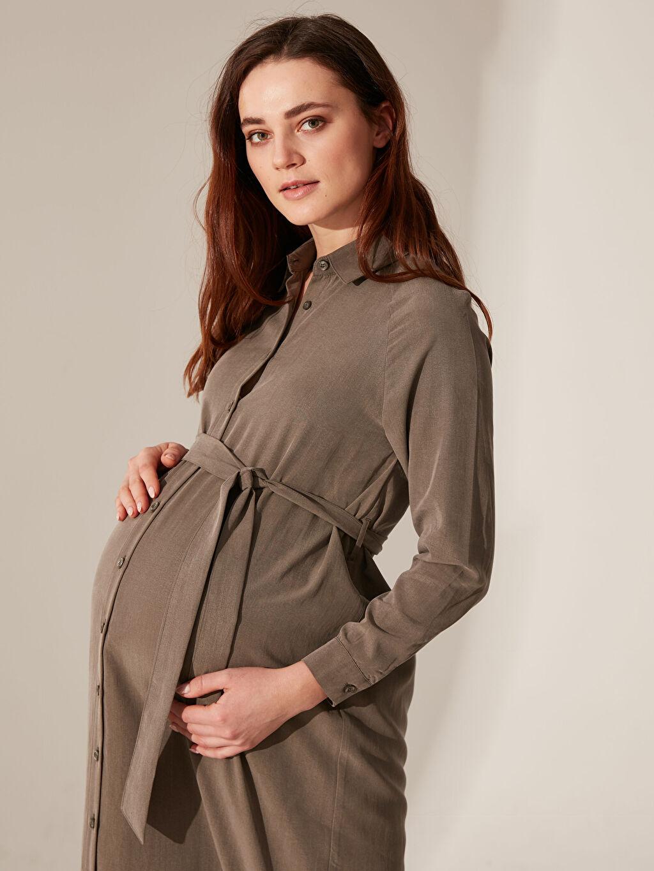 %32 Poliester %68 Lyocell Orta Kalınlık Gömlek Yaka Astarsız Uzun Günlük Uzun Kol Geniş Paça Düz Gömlek Elbise Elbise Kuşak Detaylı Düğmeli Elbise