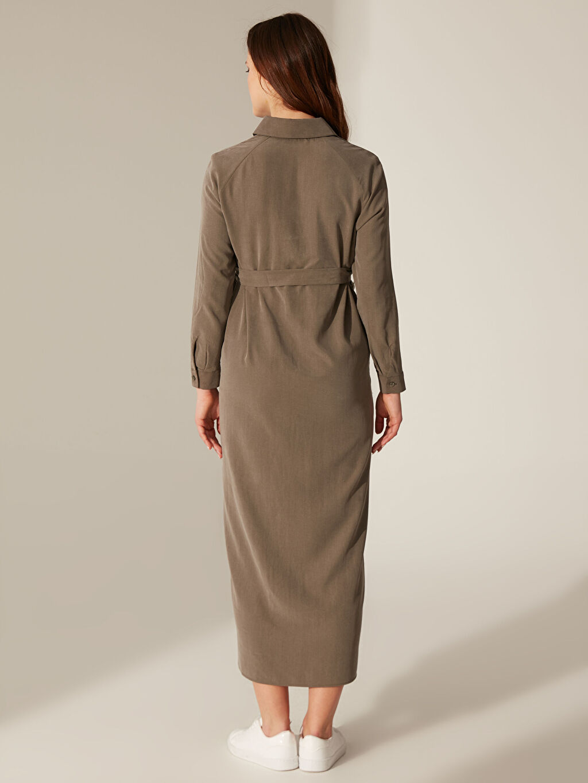 Antrasit Kuşak Detaylı Düğmeli Elbise