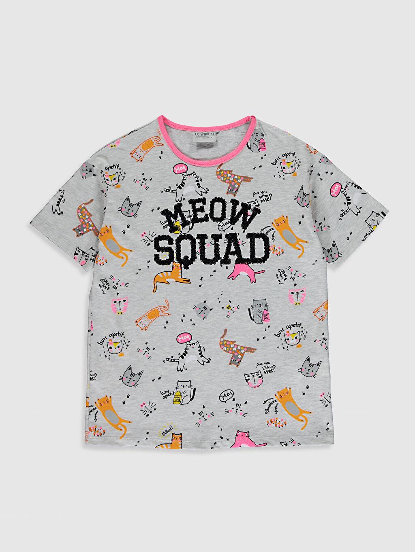 Gri Kız Çocuk Baskılı Tişört 0SA354Z4 LC Waikiki