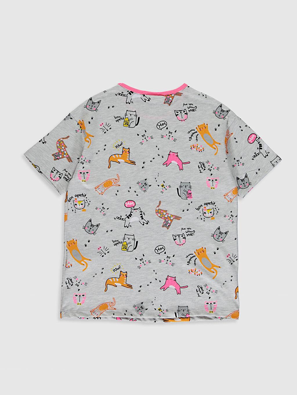 %61 Pamuk %39 Polyester İnce Kısa Kol Standart Baskılı Tişört Bisiklet Yaka Kız Çocuk Baskılı Tişört