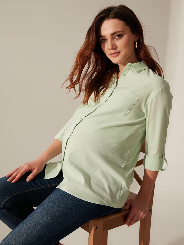 %65 Pamuk %30 Polyester %5 Elastan Orta Kalınlık Gömlek Yaka Günlük Uzun Kol Düz Poplin Gömlek Cepli Vual Gömlek