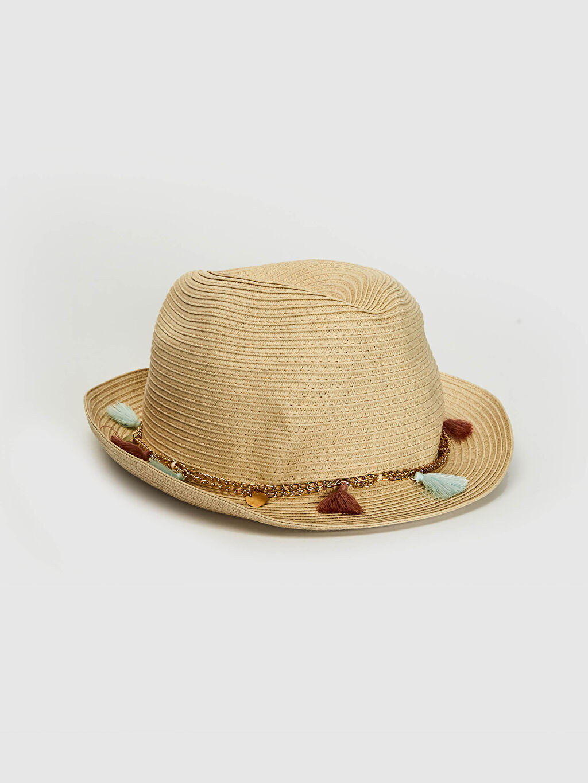 Bej Kız Çocuk Zincir Detaylı Hasır Fötr Şapka 0SA490Z4 LC Waikiki