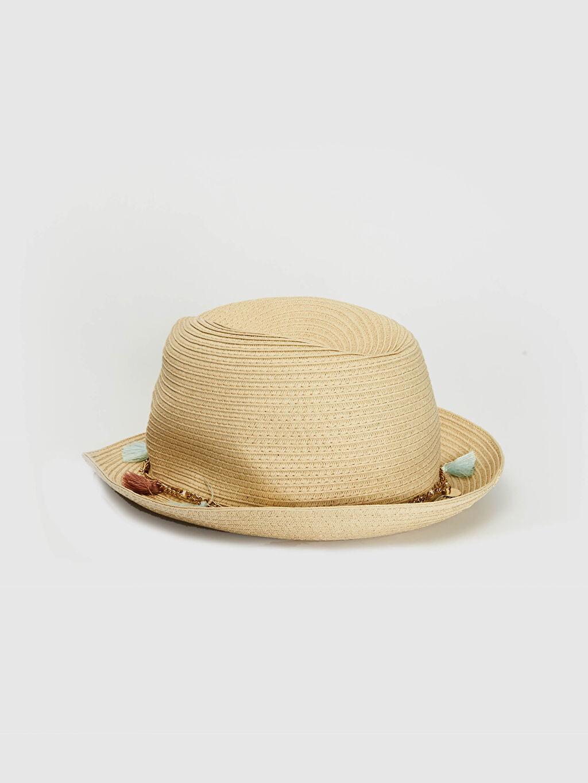 Kız Çocuk Kız Çocuk Zincir Detaylı Hasır Fötr Şapka