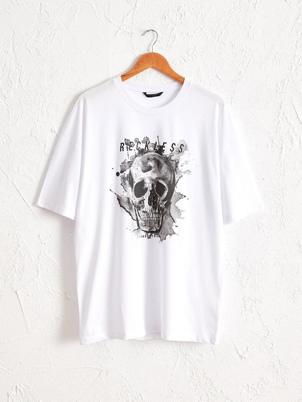 Beyaz Bisiklet Yaka Baskılı Oversize Tişört 0SA839Z8 LC Waikiki
