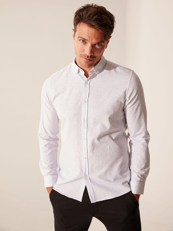 Baskılı Dar Orta Kalınlık Uzun Kol Gömlek Düğmeli Gömlek Yaka Oxford Patlı %100 Pamuk Slim Fit Desenli Oxford Gömlek
