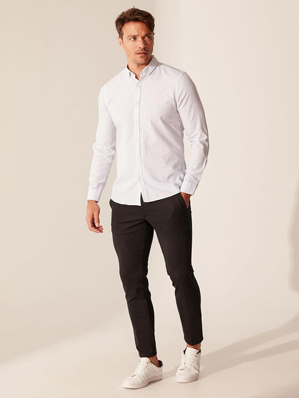 Slim Fit Desenli Oxford Gömlek