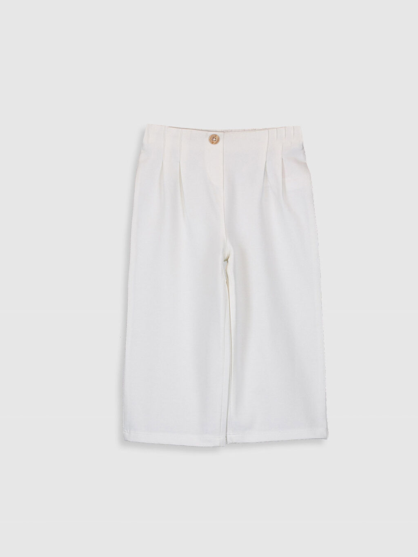 %46 Pamuk %47 Poliester %7 Elastan Standart Günlük Pantolon İki İplik Düz Standart Kız Bebek Bol Paça Pantolon