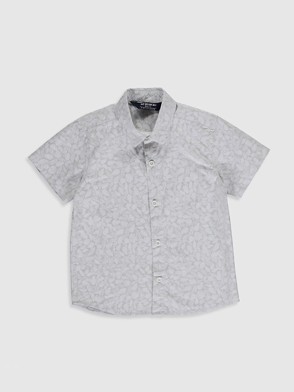 Bej Erkek Çocuk Desenli Pamuklu Gömlek 0SC511Z4 LC Waikiki