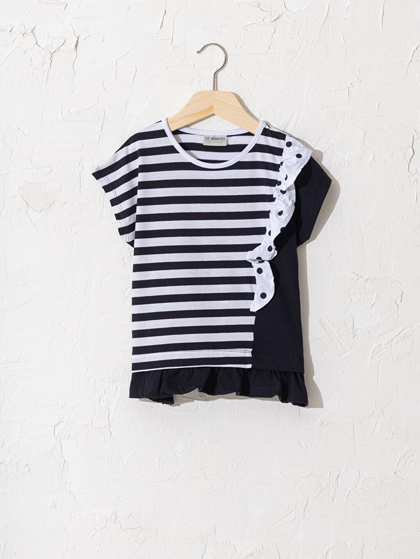 Siyah Kız Çocuk Çizgili Pamuklu Tişört 0SC642Z4 LC Waikiki