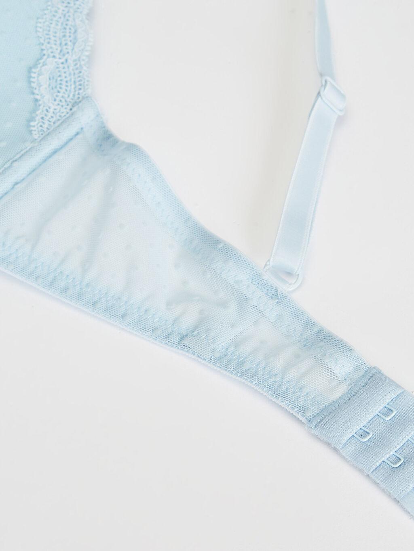 %100 Polyester Üçgen Standart Balensiz Sütyen Dolgusuz Penye Dantelli T-shirt Sütyen