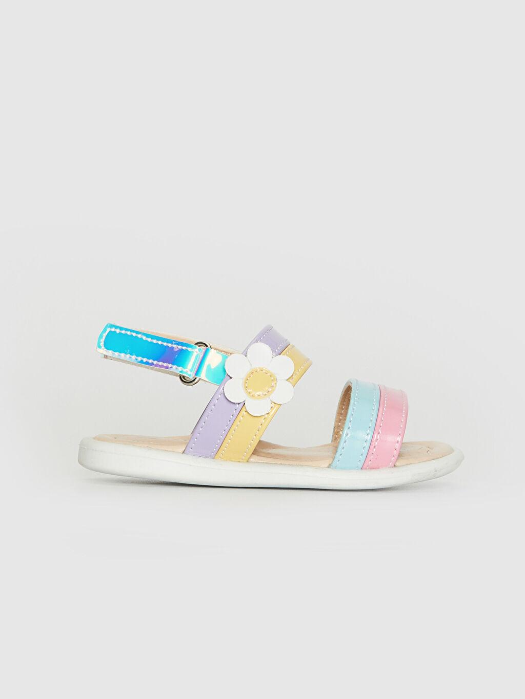 %0 Diğer malzeme (poliüretan) Cırt Cırt PU Astar Işıksız Sandalet Kız Bebek Hologram Detaylı Renkli Sandalet