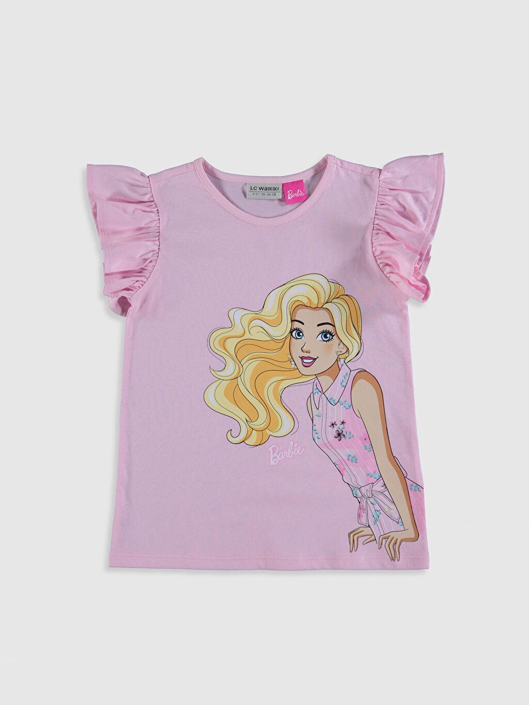 Pembe Kız Çocuk Barbie Baskılı Pamuklu Tişört 0SC861Z4 LC Waikiki