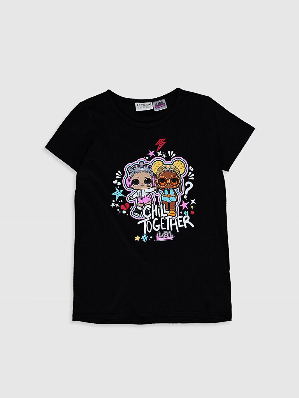 Siyah Kız Çocuk Lol Bebek Baskılı Pamuklu Tişört 0SC878Z4 LC Waikiki