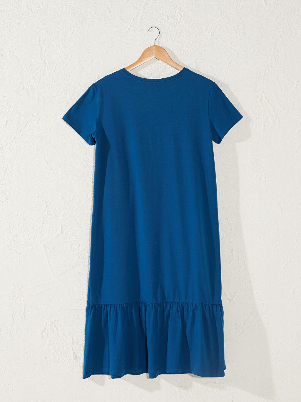 %96 Pamuk %4 Elastan İnce Midi Penye Astarsız Casual Kısa Kol Düz Elbise Yazı Baskılı Salaş Pamuklu Hamile Elbise