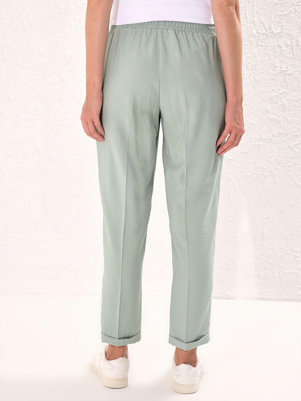 Yeşil Beli Lastikli Harem Pantolon