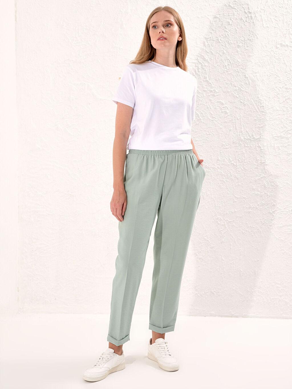 %8 Poliamid %92 Vıscose Standart İnce Normal Bel Pantolon Beli Lastikli Harem Pantolon