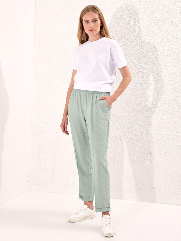 %8 Poliamid %92 Vıscose Beli Lastikli Harem Pantolon
