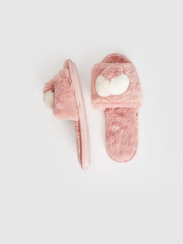 Tekstil malzemeleri Pelüş Banyo Terliği Kadın Ponponlu Pelüş Banyo Terliği