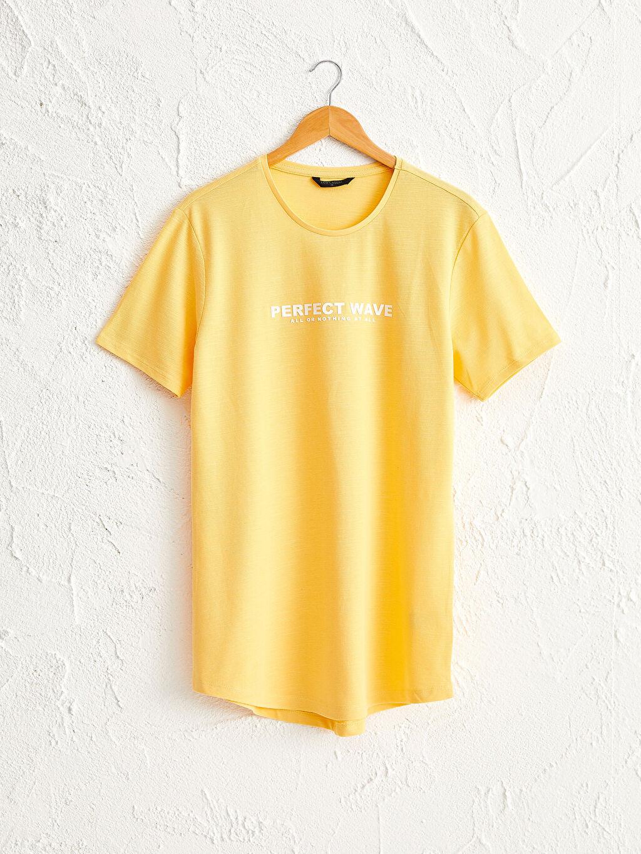 Sarı Bisiklet Yaka Baskılı Penye Tişört 0SE275Z8 LC Waikiki