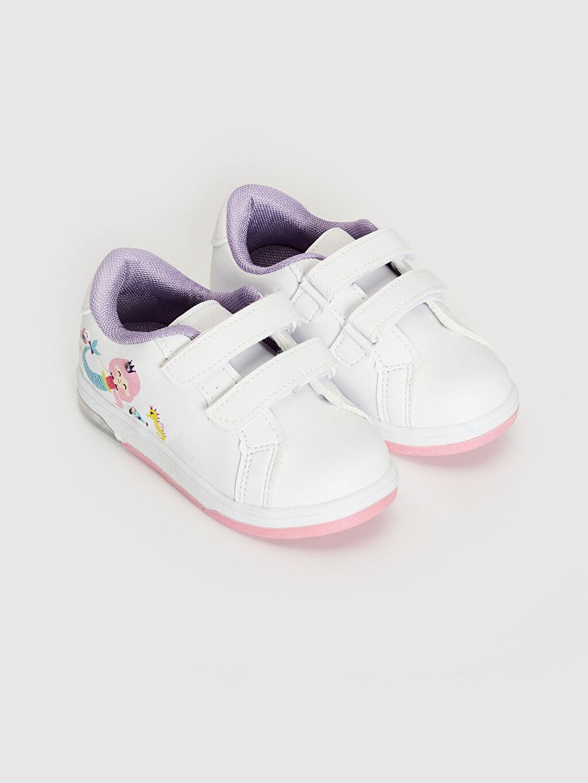 %0 Diğer malzeme (poliüretan) Polyester Astar Üstü Işıklı Cırt Cırt Sneaker Kız Bebek İşıklı Sneaker