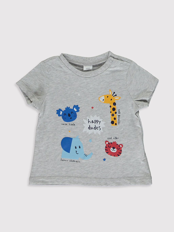 0SE585Z1 Erkek Bebek Baskılı Pamuklu Tişört 2'li