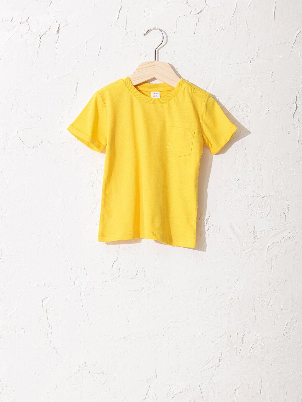 Sarı Erkek Bebek Pamuklu Basic Tişört 0SE664Z1 LC Waikiki