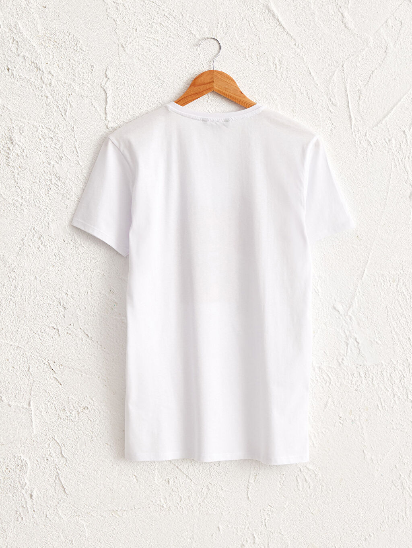 Beyaz Bisiklet Yaka Baskılı Penye Tişört