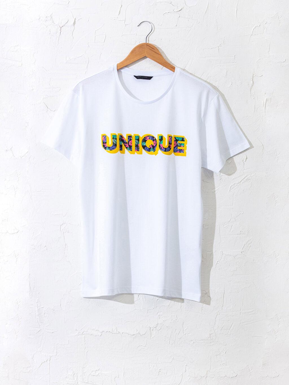 Beyaz Bisiklet Yaka Yazı Baskılı Tişört 0SE754Z8 LC Waikiki