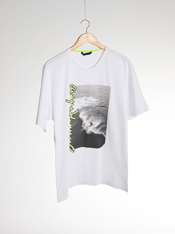 Beyaz Bisiklet Yaka Baskılı Oversize Tişört 0SE795Z8 LC Waikiki