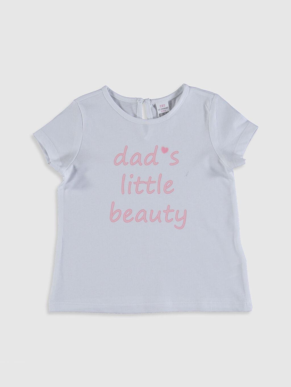Beyaz Kız Bebek Pamuklu Yazı Baskılı Tişört 0SF129Z1 LC Waikiki