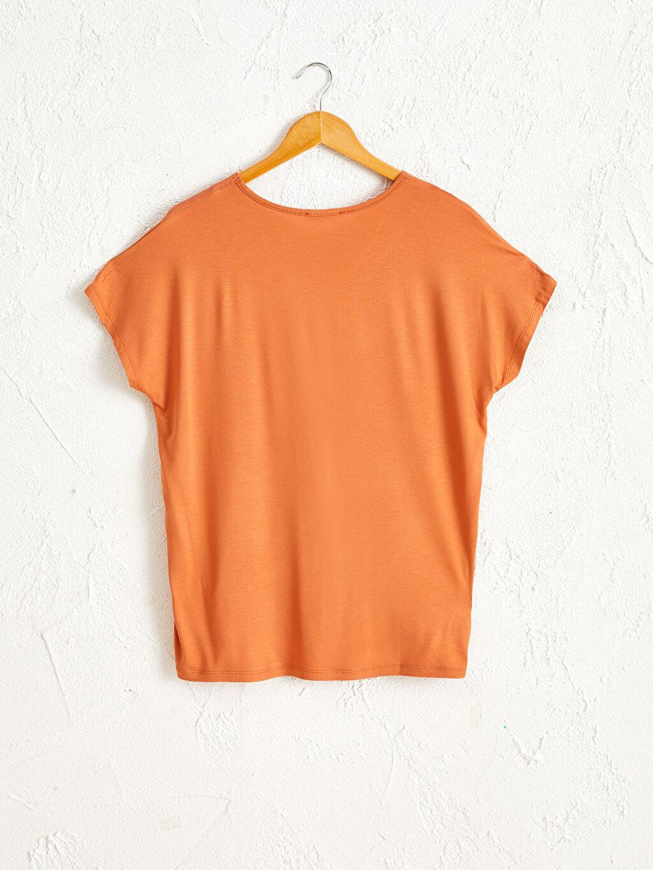 %97 Viskon %3 Elastan İnce Tişört V Yaka Kısa Kol Penye Düz Viskon Tişört