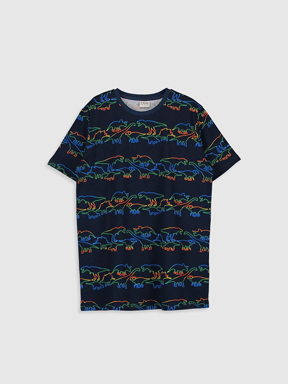 Lacivert Erkek Çocuk Baskılı Pamuklu Tişört 0SF575Z4 LC Waikiki