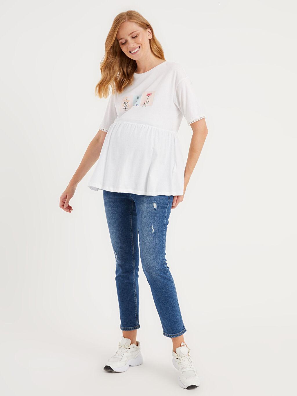Kadın Baskılı Pamuklu Hamile Tişört
