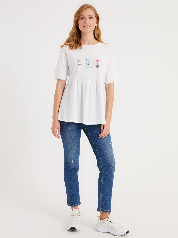 %100 Pamuk Baskılı Pamuklu Hamile Tişört