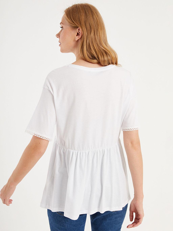 LC Waikiki Beyaz Baskılı Pamuklu Hamile Tişört