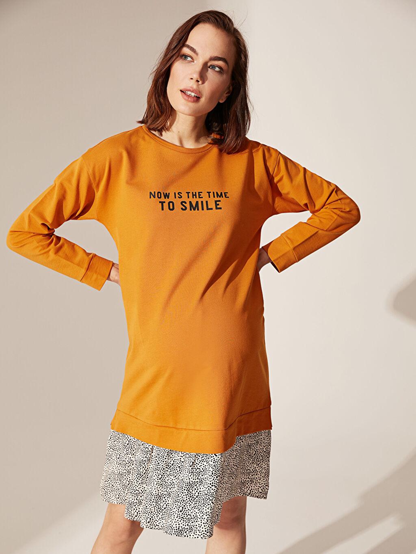 %100 Pamuk Yazı Baskılı Puantiye Detaylı Pamuklu Hamile Elbise