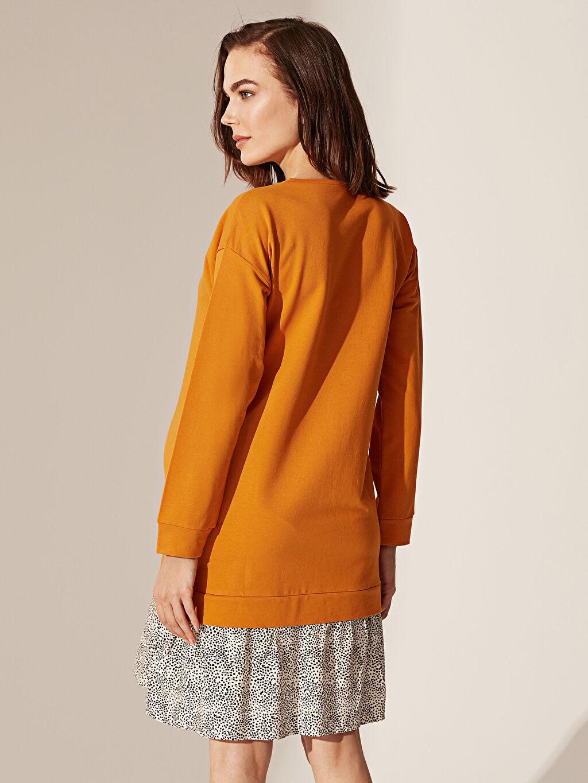 Sarı Yazı Baskılı Puantiye Detaylı Pamuklu Hamile Elbise