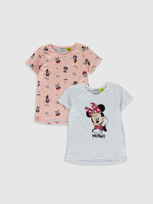 Beyaz Kız Çocuk Minnie Mouse Baskılı Tişört 2'Li 0SP483Z4 LC Waikiki