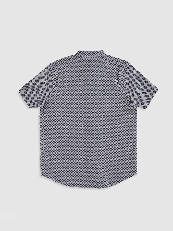 Baskılı Standart Kısa Kol Gömlek %100 Pamuk Erkek Çocuk Baskılı Pamuklu Gömlek